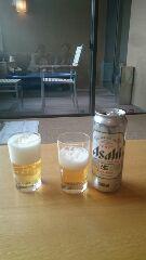 お宿でビール